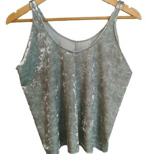 H&M light green velvet halter top, size M